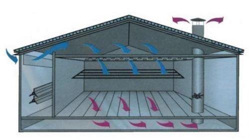 Схема потока воздуха при модернизированной естественной системы вентиляции в сарае